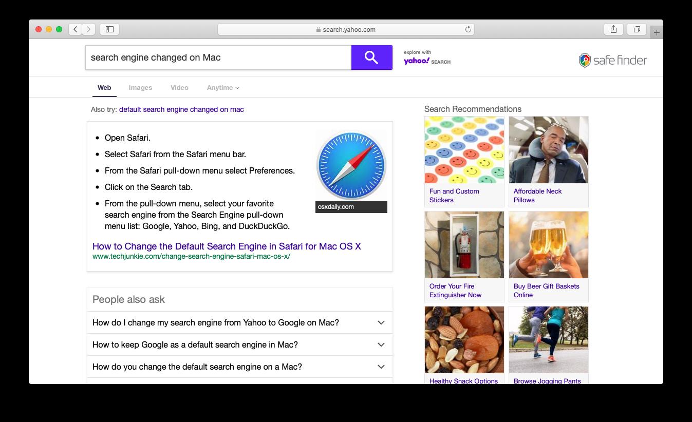 Safari重定向到由Safe Finder病毒強加的自定義Yahoo搜索頁面